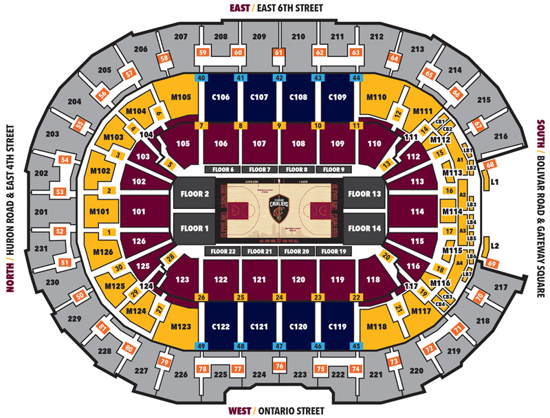 Rocket Mortgage Fieldhouse Seating Chart, Cleveland Cavaliers