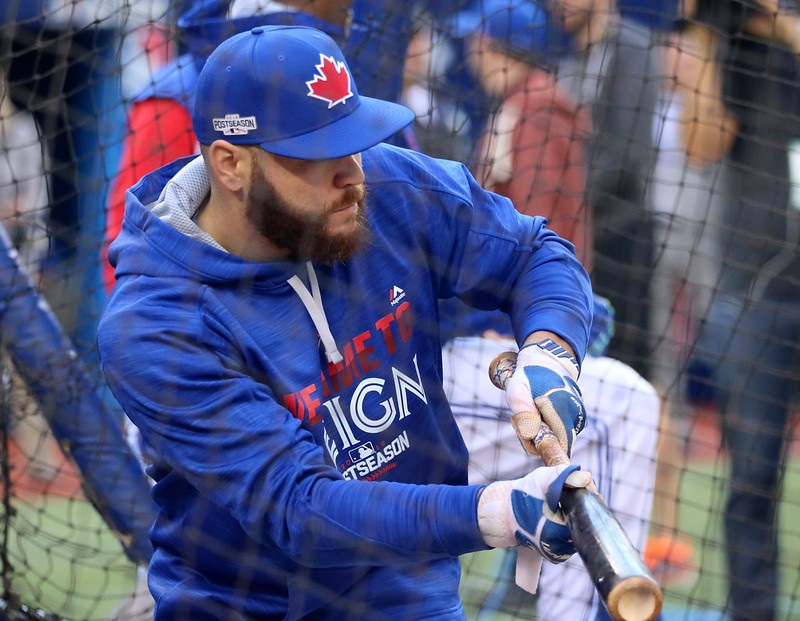 Photo of Russell Martin of the Toronto Blue Jays during batting practice at the Rogers Centre.
