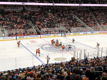 View from the lower level seats at Rogers Place during an Edmonton Oilers game.