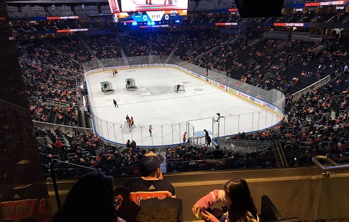 View from the Theatre Boxes at Rogers Place during an Edmonton Oilers game.