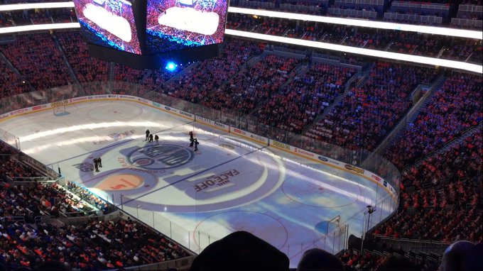 View from the upper level seats at Rogers Place during an Edmonton Oilers game.