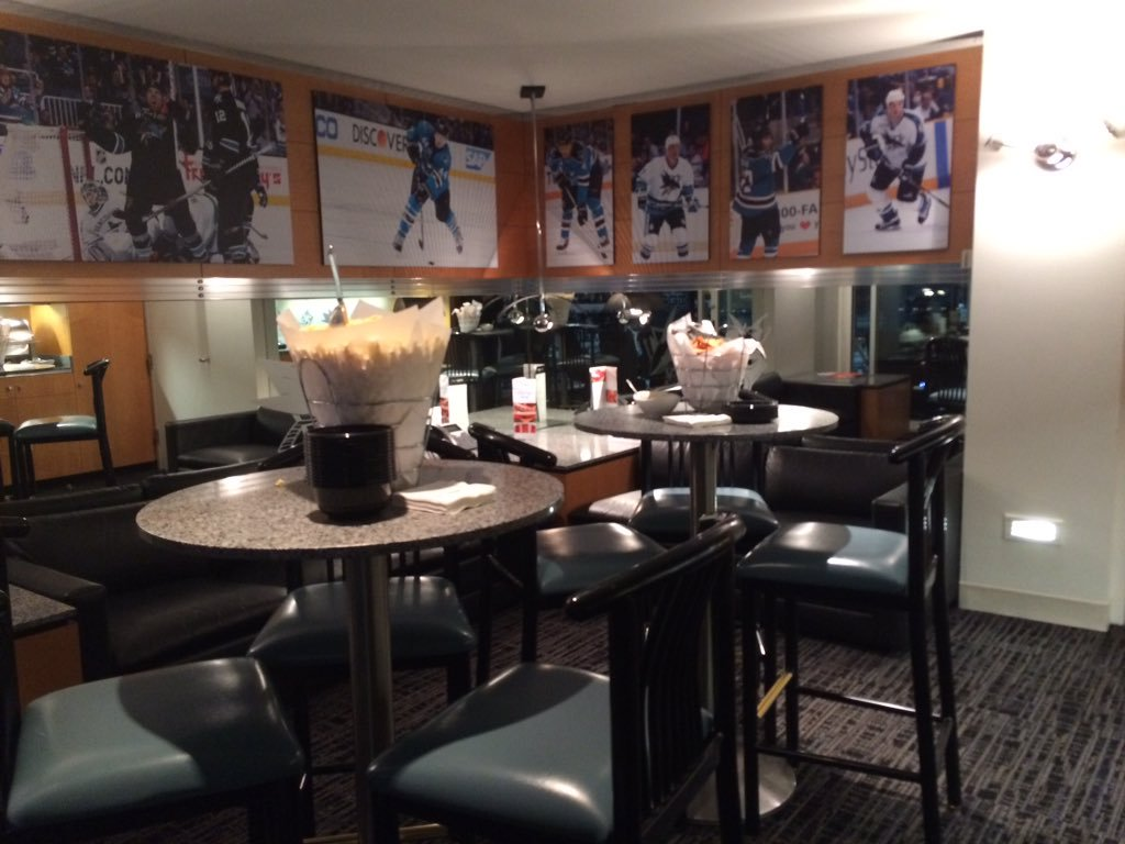 Interior photo of a suite at SAP Center at San Jose, home of the San Jose Sharks.