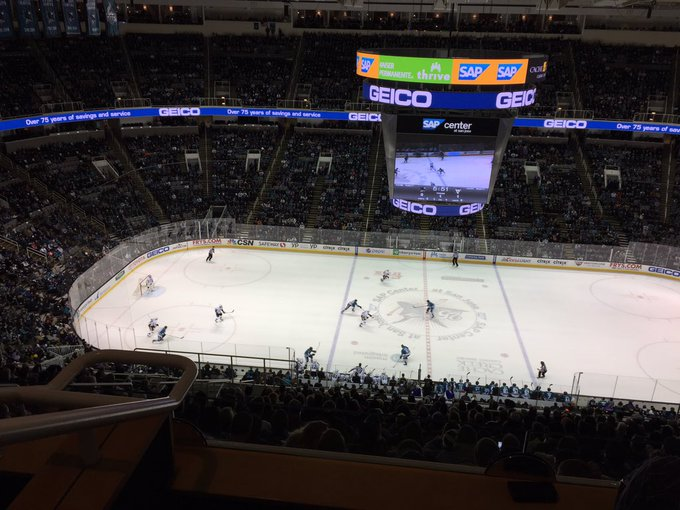 View from a Penthouse Suite at SAP Center at San Jose during a San Jose Sharks game.