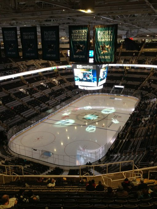 View from the upper level seats at SAP Center at San Jose before a San Jose Sharks game.