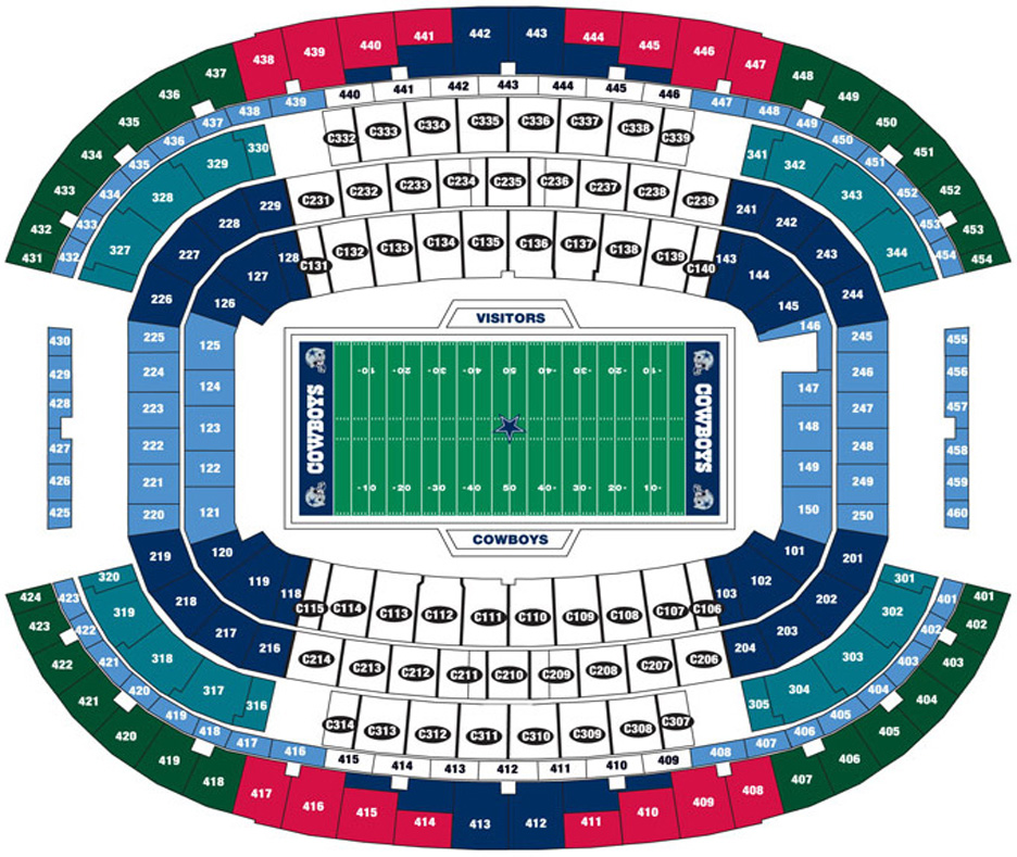 Breakdown of the at t stadium seating chart dallas cowboys