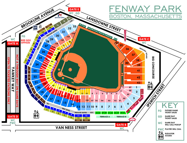 Fenway Park Seating Chart, Home of the Boston Red Sox.
