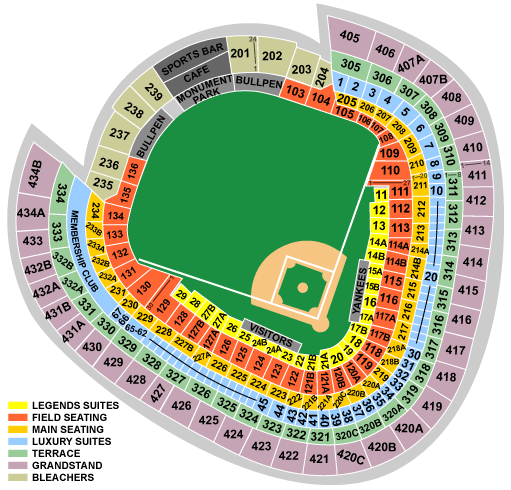Breakdown Of The Yankee Stadium Seating Chart | New York Yankees on doak campbell stadium seating map, university of phoenix stadium seating map, fau stadium seating map, ralph wilson stadium seating map, mcu park seating map, veterans stadium seating map, chicagoland speedway seating map, red bull arena seating map, gillette stadium seating map, peoria stadium seating map, legion field seating map, avaya stadium seating map, toyota stadium seating map, chicago stadium seating map, bank of america stadium seating map, surprise stadium seating map, the forum seating map, tdecu stadium seating map, levi's stadium seating map,