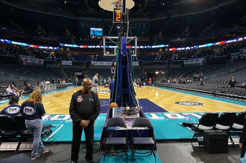 View from the courtside seats at the Spectrum Center before a Charlotte Hornets game.
