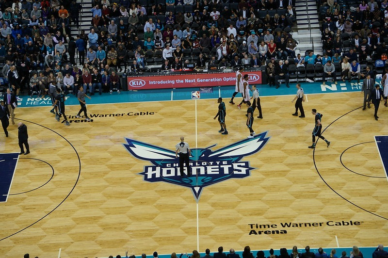 View from the upper level seats at the Spectrum Center during a Charlotte Hornets game.
