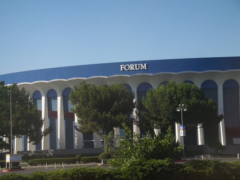 Photo of The Forum in Inglewood, California. Former home of the Los Angeles Lakers.