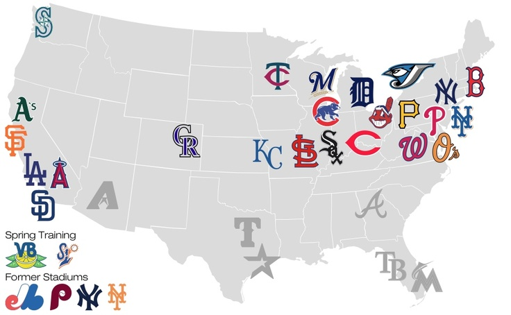 Us Map Of Baseball Teams.How To Visit All 30 Major League Ballparks On A Budget From This Seat
