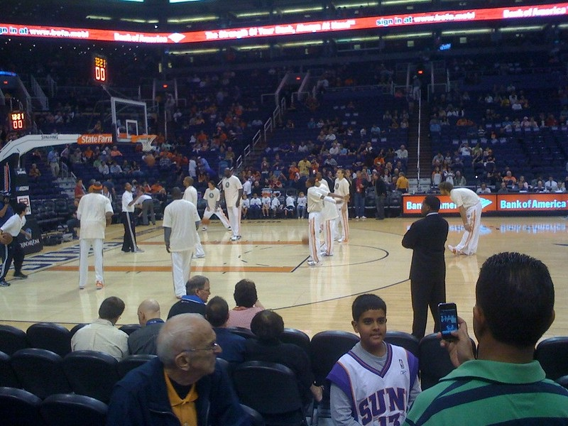 Courtside seat view at Talking Stick Resort Arena during a Phoenix Suns home game.