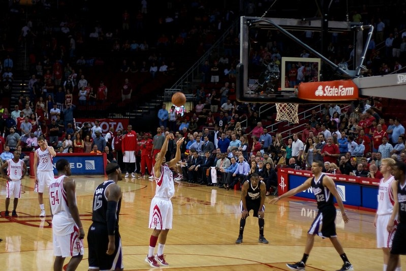View from the courtside seats at the Toyota Center during a Houston Rockets game.