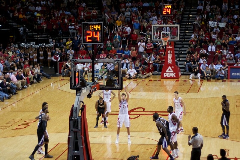 View from the lower level seats at the Toyota Center during a Houston Rockets game.