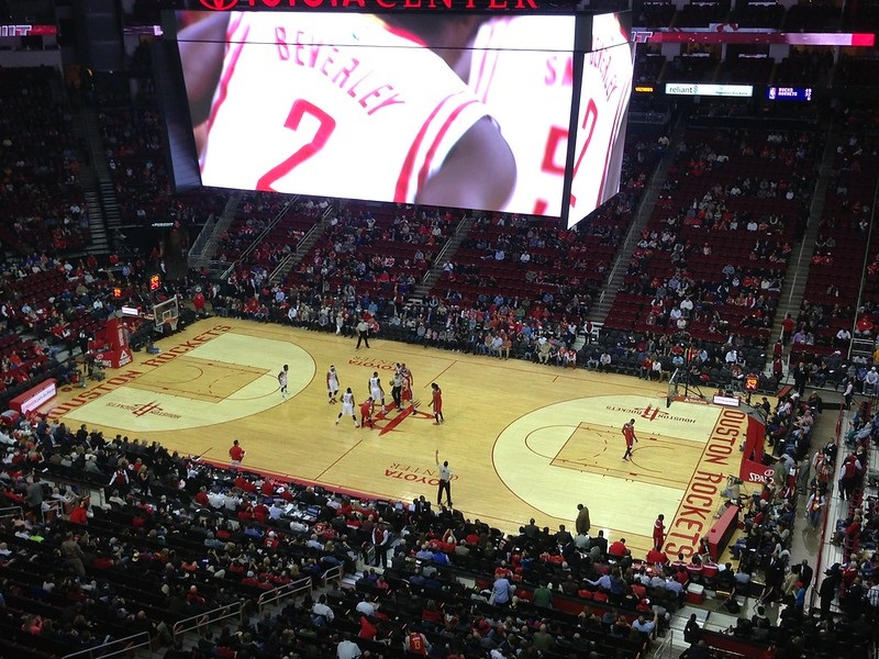 View from the upper level seats at the Toyota Center during a Houston Rockets game.
