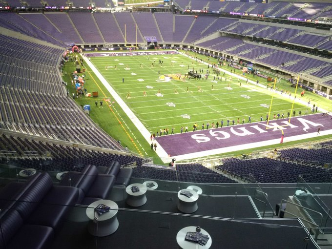 View from the club level seats at U.S. Bank Stadium in Minneapolis, Minnesota.