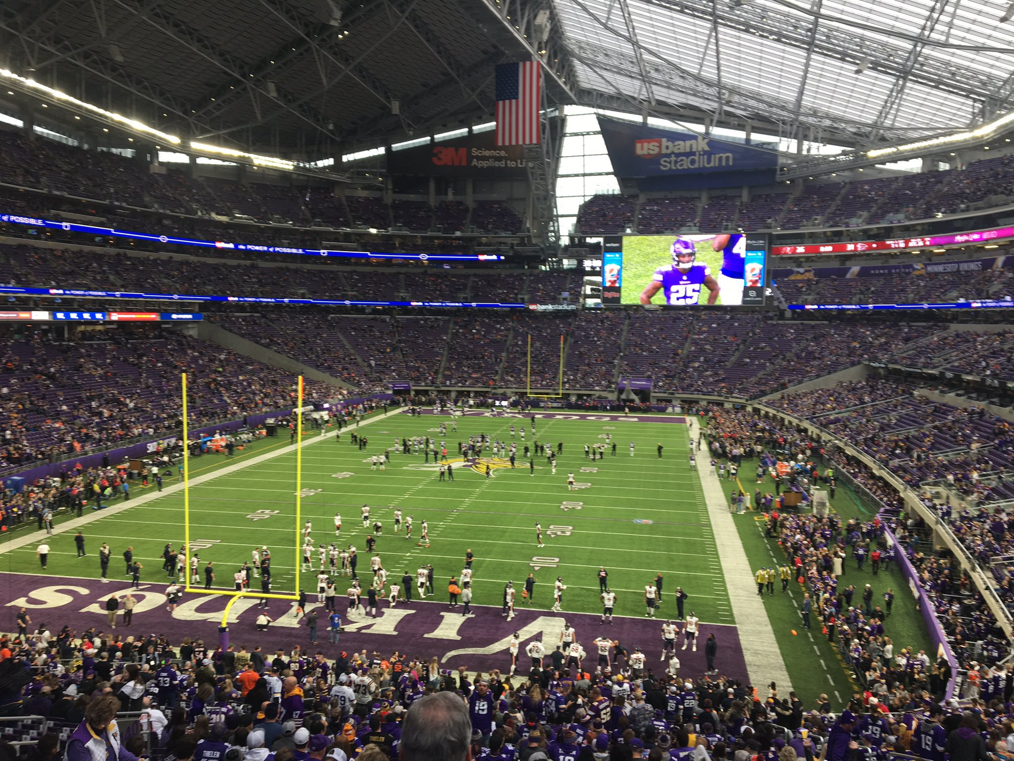 View from the lower level seats at U.S. Bank Stadium during a Minnesota Vikings game.