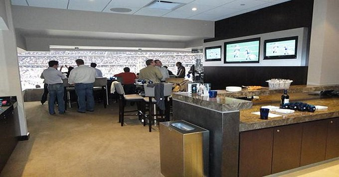 Interior photo of a suite at U.S. Bank Stadium during a Minnesota Vikings game.