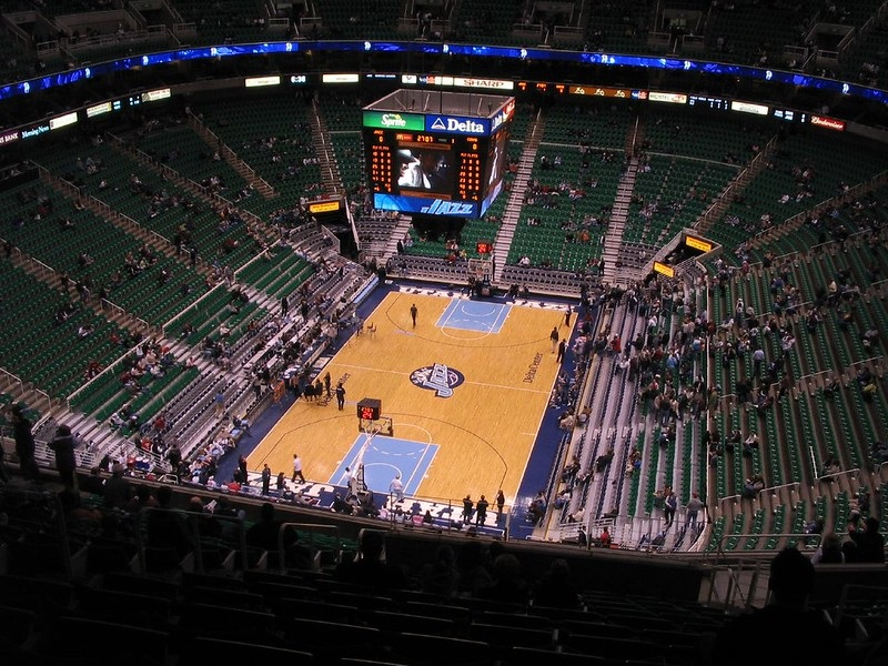 View from the upper level seats at Vivint Smart Home Arena during a Utah Jazz game.
