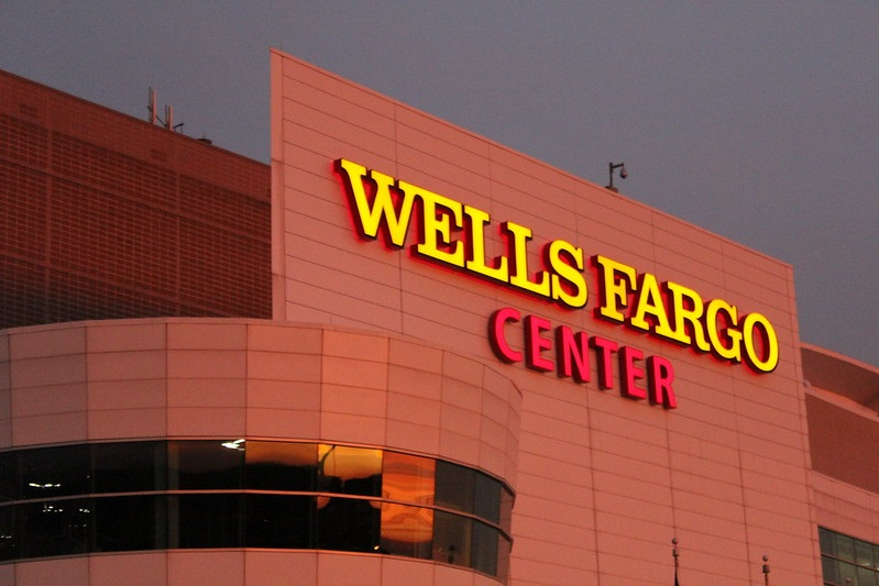 Exterior photo of the Wells Fargo Center. Home of the Philadelphia Flyers and Philadelphia 76ers.