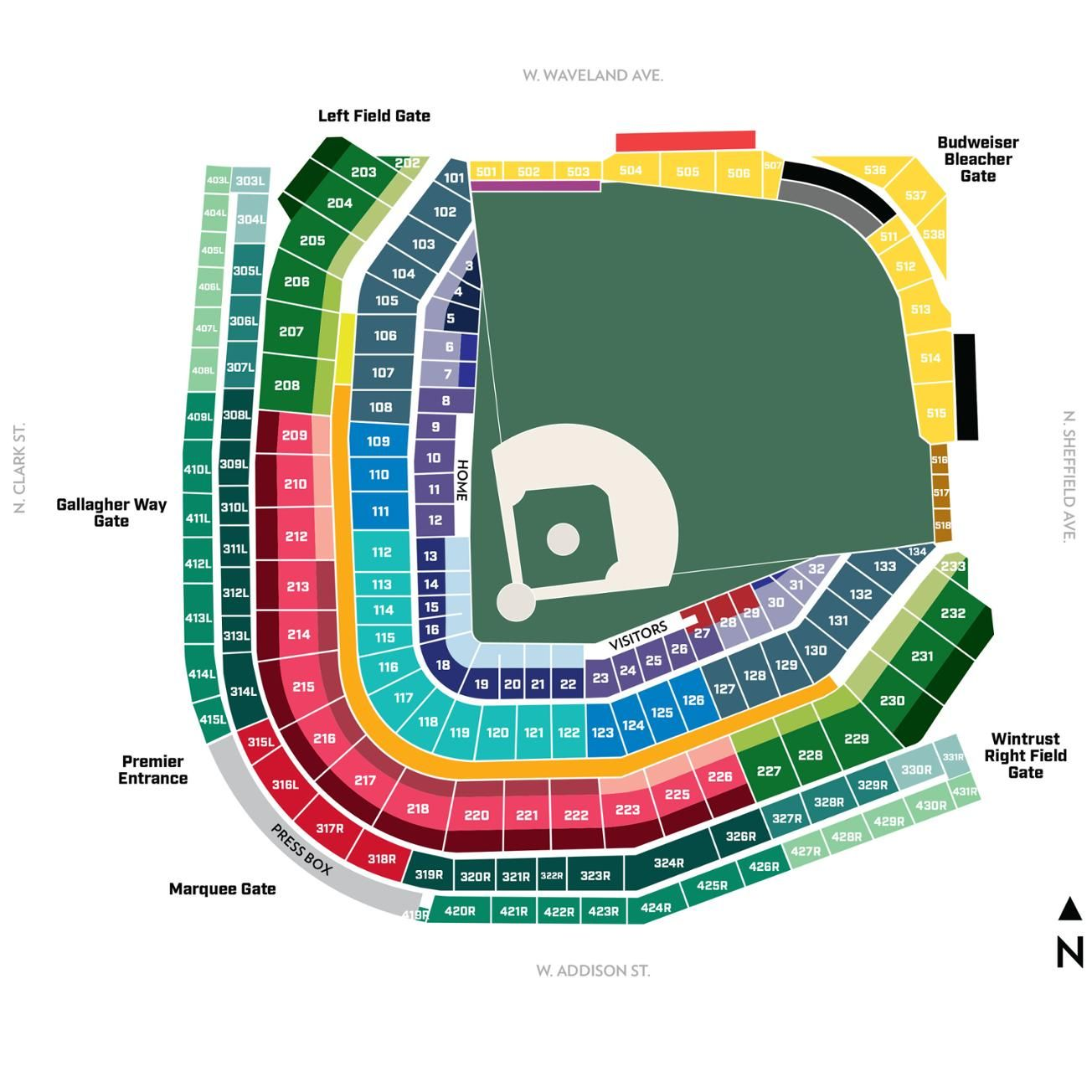 Wrigley Field Seating Chart, Chicago Cubs