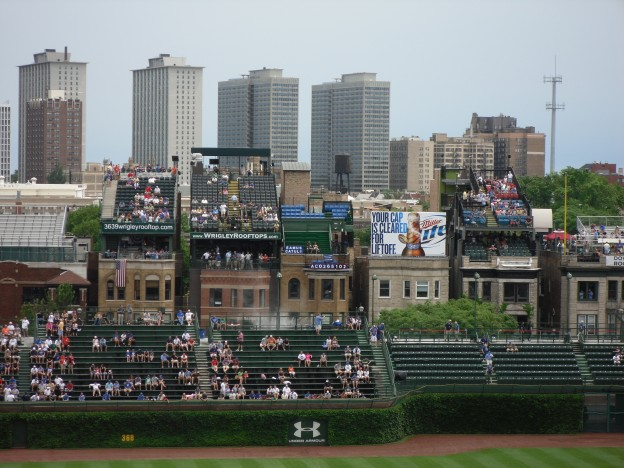 Photo of Wrigleyville Rooftops behind Wrigley Field in Chicago, Illinois.