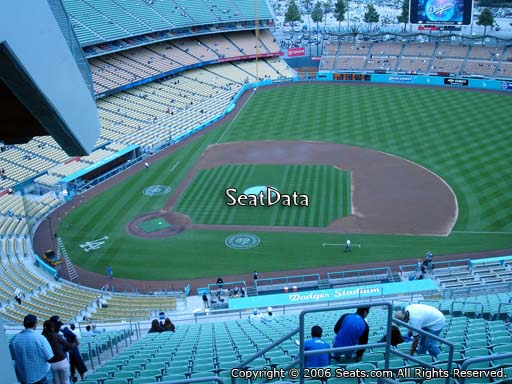 Seat view from reserve section 12 at Dodger Stadium, home of the Los Angeles Dodgers