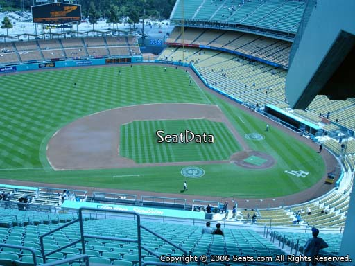Seat view from reserve section 13 at Dodger Stadium, home of the Los Angeles Dodgers