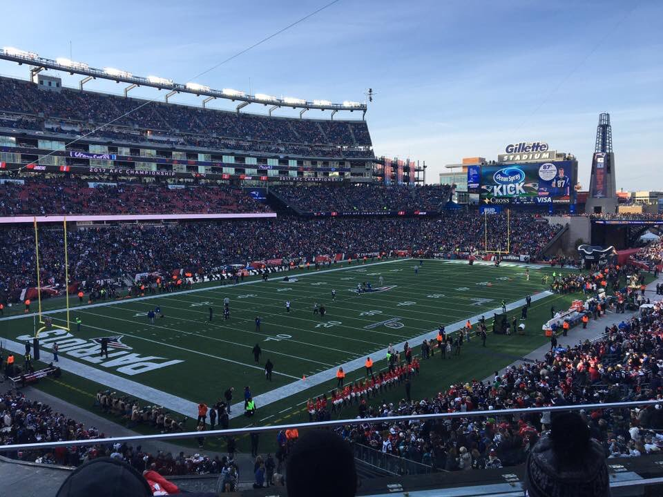 View of the field at Gillette Stadium during a New England Patriots game.