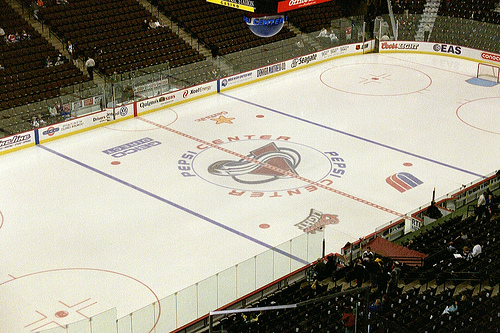 Photo of the ice at the Pepsi Center during a Colorado Avalanche game.