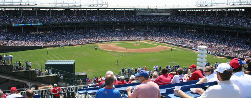 View of Wrigley Field from the Beyond the Ivy rooptop at 1010 Waveland.