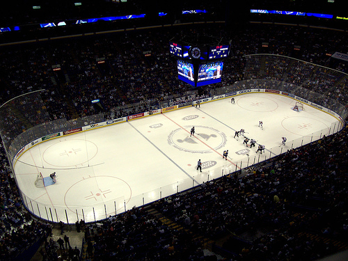 Photo of the ice at the Scottrade Center, home of the St. Louis Blues.