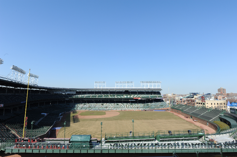 Photo of Wrigley Field from the Lakeview Baseball Club rooftop.