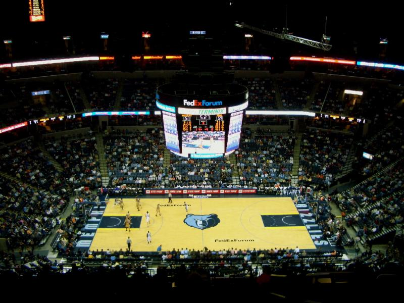 Photo of Fedex Forum from the upper level. Home of the NBA's Memphis Grizzlies.