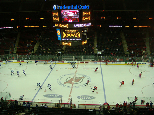 Photo of the ice at the Prudential Center, home of the New Jersey Devils.