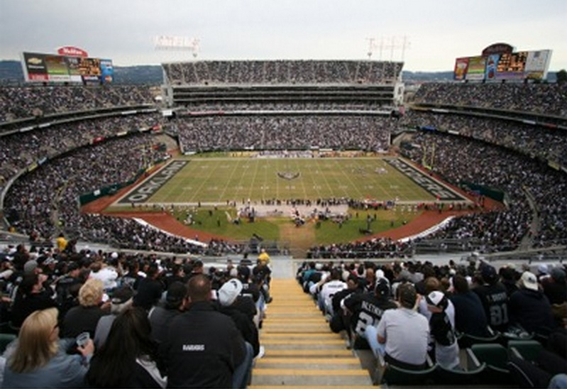 Photo of the field at Oakland Coliseum, home of the Oakland Raiders.