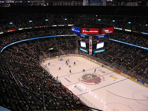 Photo of the ice at the Canadian Tire Centre, home of the Ottawa Senators.