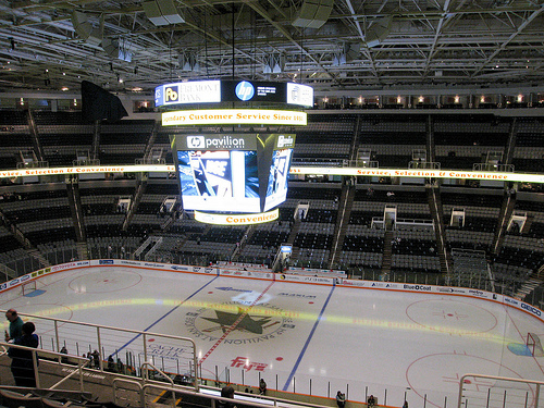 Photo o the ice at the SAP Center at San Jose, home of the San Jose Sharks.