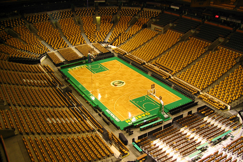 Photo of the TD Garden during a Boston Celtics game.