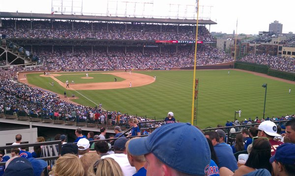 View of Wrigley Field from the Wrigley Field Rooftop Club on Sheffield.