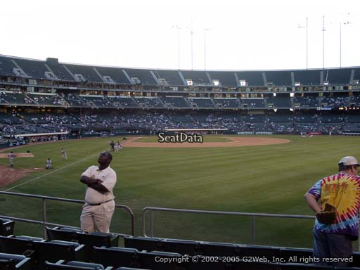 Seat view from section 101 at Oakland Coliseum, home of the Oakland Athletics