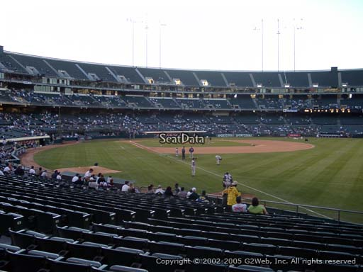 Seat view from section 104 at Oakland Coliseum, home of the Oakland Athletics