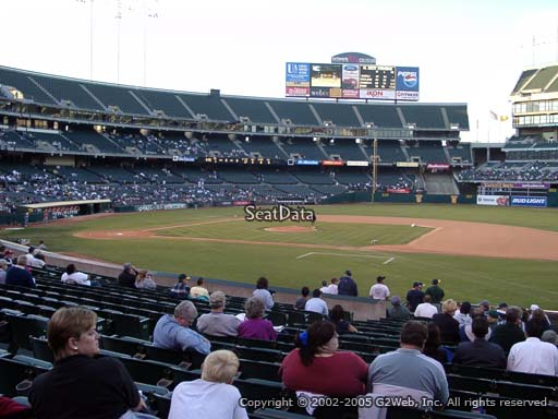 Seat view from section 111 at Oakland Coliseum, home of the Oakland Athletics