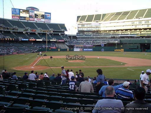 Seat view from section 114 at Oakland Coliseum, home of the Oakland Athletics
