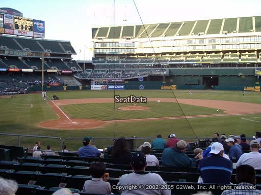 Seat view from section 115 at Oakland Coliseum, home of the Oakland Athletics