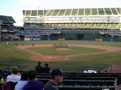Seat view from section 116 at Oakland Coliseum, home of the Oakland Athletics