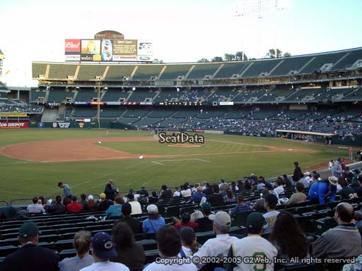 Seat view from section 124 at Oakland Coliseum, home of the Oakland Athletics