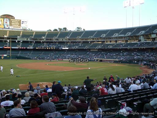 Seat view from section 127 at Oakland Coliseum, home of the Oakland Athletics