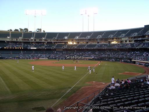 Seat view from section 131 at Oakland Coliseum, home of the Oakland Athletics