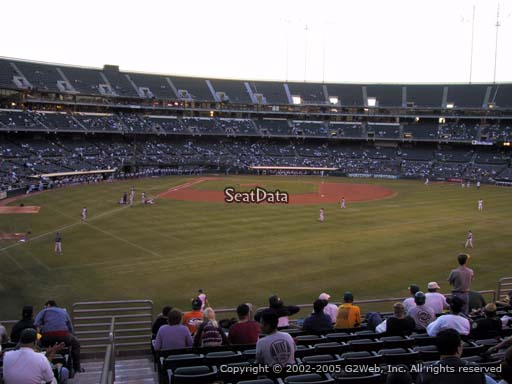 Seat view from section 150 at Oakland Coliseum, home of the Oakland Athletics